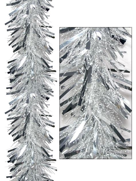 thin tinsel thick metallic silver thin transparent tinsel garland
