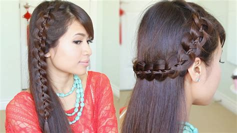 hairstyles braids youtube unique 4 strand lace braid hairstyle for long hair