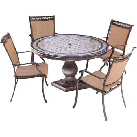 Tile Top Patio Dining Table Hton Bay Statesville Shell 5 Aluminum Outdoor Dining Set Fca70357ds St2w The Home Depot