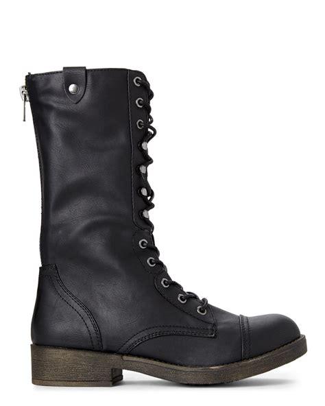 madden combat boots lyst madden black motorrr fold combat boots in