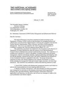 Certification Renewal Letter Contents Of Letter Report Preliminary Assessment Of Doe Facility Management And Infrastructure