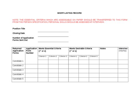 shortlisting criteria template shortlisting criteria template 28 images downe house