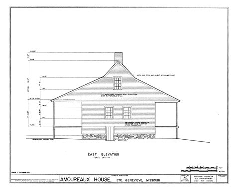 House Elevation Dimensions by File Drawing Of The East Elevation Of The Amoureaux House