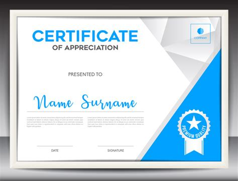 certificate design vector file blue certificate template layout design vector 01 vector