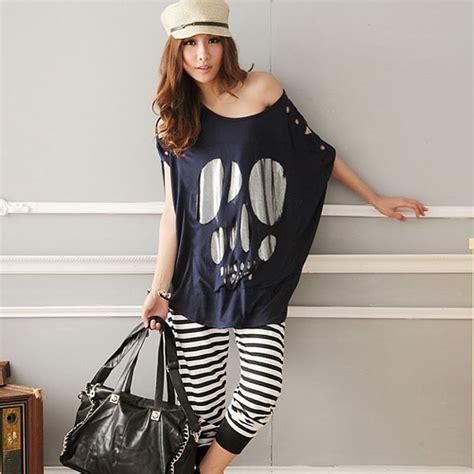 Stylish Oversized Shirts by Gzdl Batwing Sleeve Skull Print Casual