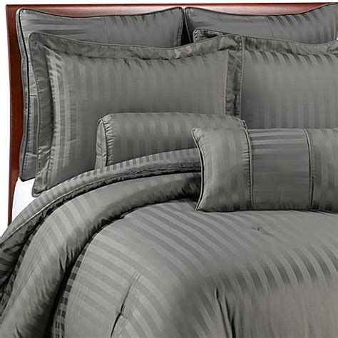 wamsutta 174 damask stripe comforter set in grey bed bath