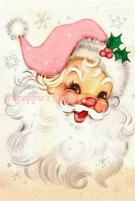 fabric block chic shabby pink jolly santa claus twinkly christmas ebay
