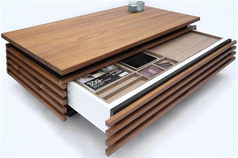 lade design teakhouten design salontafel met verborgen lade voor