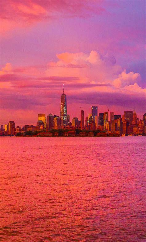 york city cloudy cityscape sunset hd  wallpaper