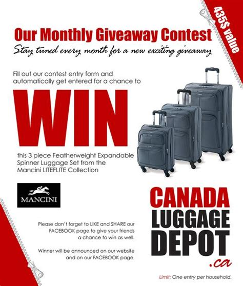 contest canada 2013 canada luggage depot monthly giveaway a contest lover s