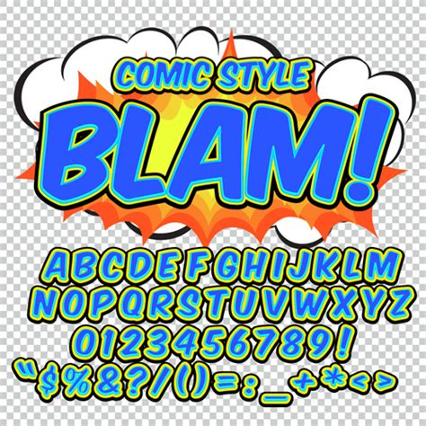 comic styles alphabet with numbers and symbol vector set
