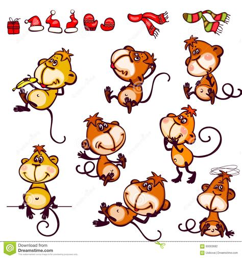 Monkey Set set monkey stock vector illustration of decoration claus