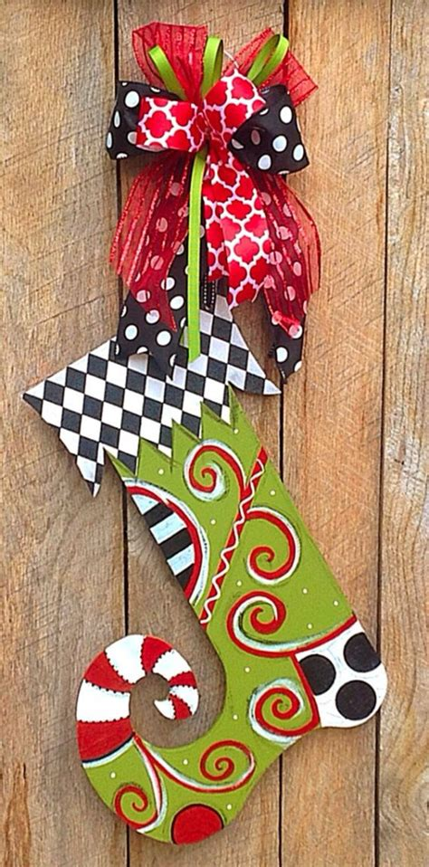 christmas door hanger wood stocking decorations  theredwoodbarn door hangers pinterest