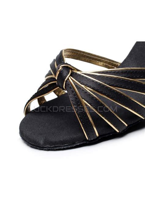 Dasi Satin 7cm Gold s heels black gold satin modern ballroom salsa ankle shoes d901006