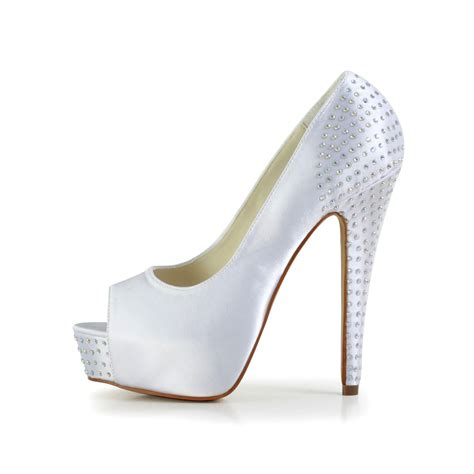 Wedding Shoes With Platform by S Satin Stiletto Heel Peep Toe Platform White