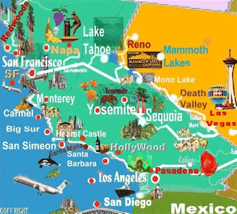 california tourist attractions map california map for tourist
