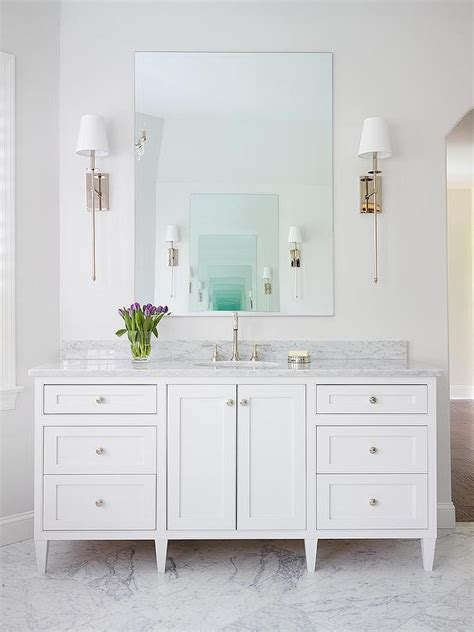 silver bathroom vanity white marble master bathroom bathroom with robert abbey chase sconce transitional