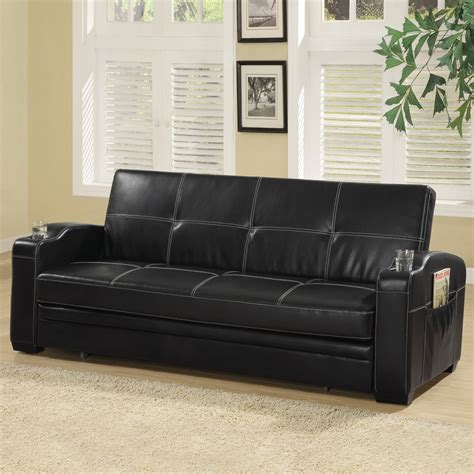 shop coaster furniture black vinyl futon at lowes