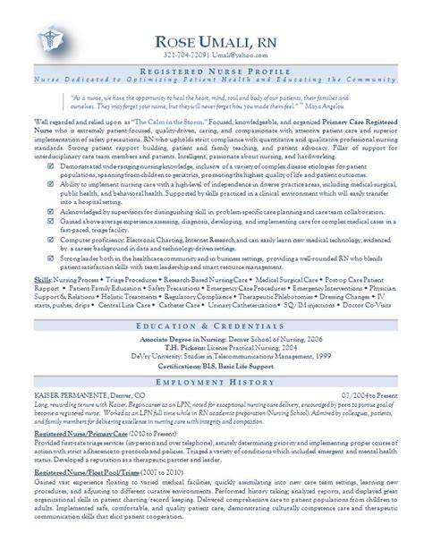 Resume Samples Nursing by Nursing Resume Sample