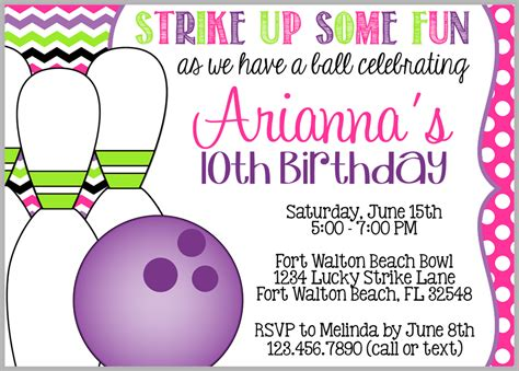 bowling birthday invitation templates 8 best images of make printable invitations bowling