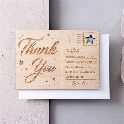 Card And Gift Company - personalised thank you wooden post card by no ordinary gift company