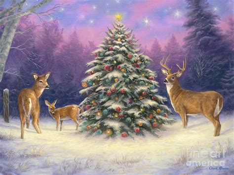 christmas deer painting by chuck pinson