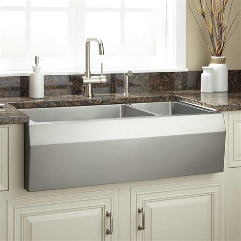 Stainless Farmhouse Kitchen Sinks 36 Quot Optimum 70 30 Offset Bowl Stainless Steel Farmhouse Sink Angled Front Kitchen