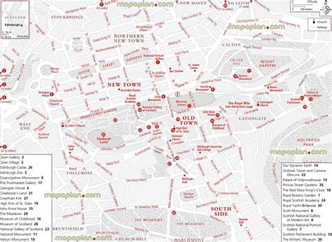 printable maps edinburgh edinburgh map central edinburgh attractions jpg map