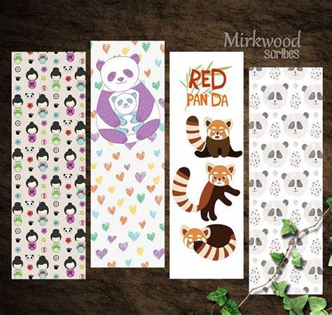 printable panda bookmark cute panda bookmarks printable panda bookmark set of 4
