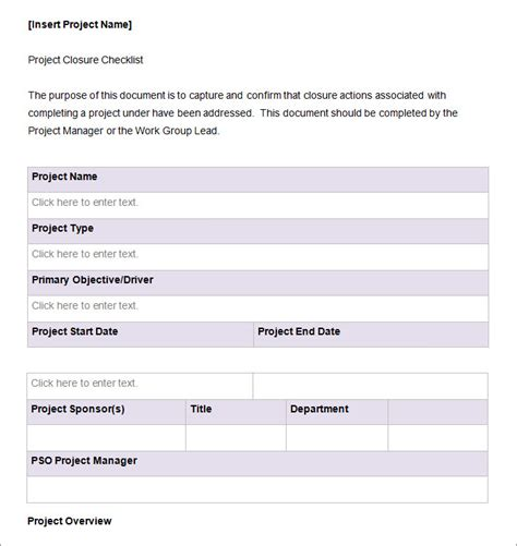 Project Closeout Checklist Template by Project Checklist Template 11 Free Word Pdf Documents