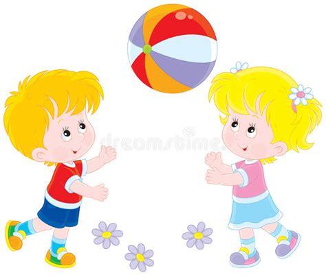 clipart amicizia bambini giocano una palla illustrazione vettoriale