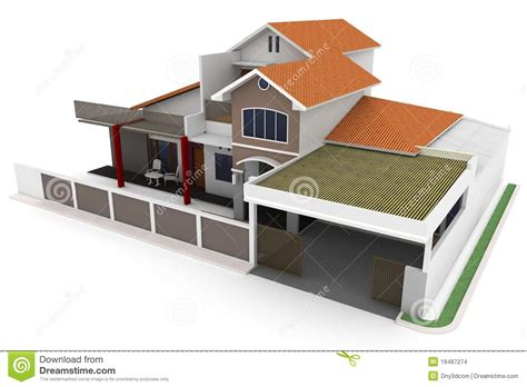 home design 3d vshare 3d house isolated on white stock images image 19487274