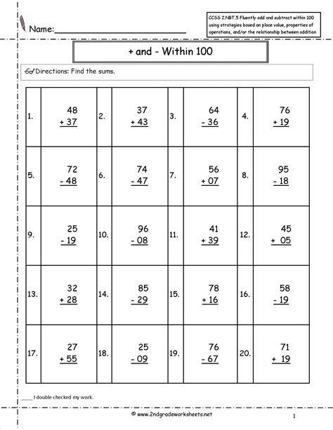 Common Grade 2 Math Worksheets by Common Math Worksheets For 2nd Grade Worksheets