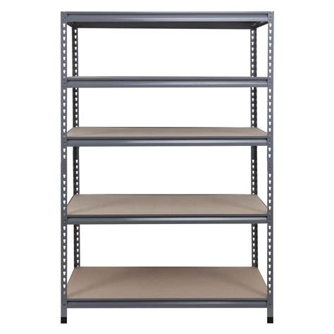 garage shelving lowes workpro 72 in h x 48 in w x 24 in d 5 tier steel freestanding shelving unit lowe s canada