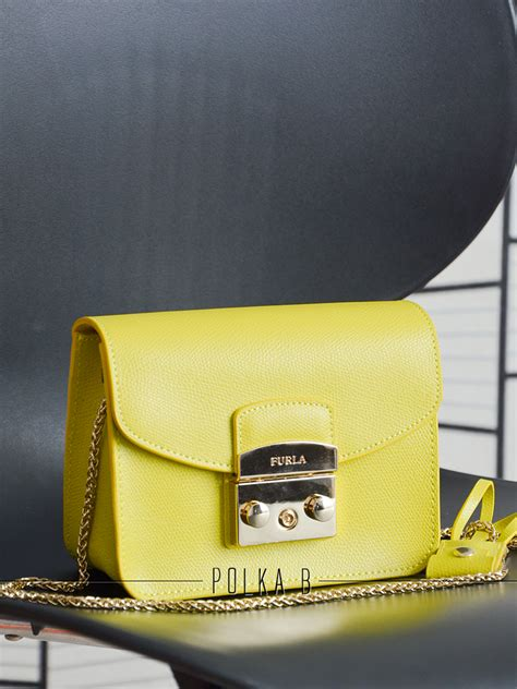 Furla Metropolis Mini Xs Authentic furla metropolis mini crossbody bag yellow polka b authentic luxury you can afford