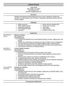 Forklift Repair Sle Resume by Forklift Operator Resume Exle Production Sle Resumes Livecareer