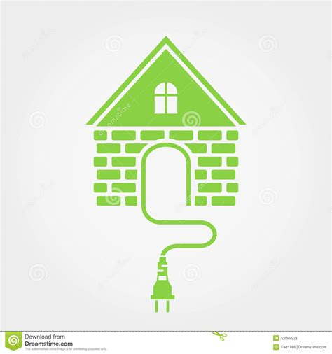 green house with socket home electricity icon stock