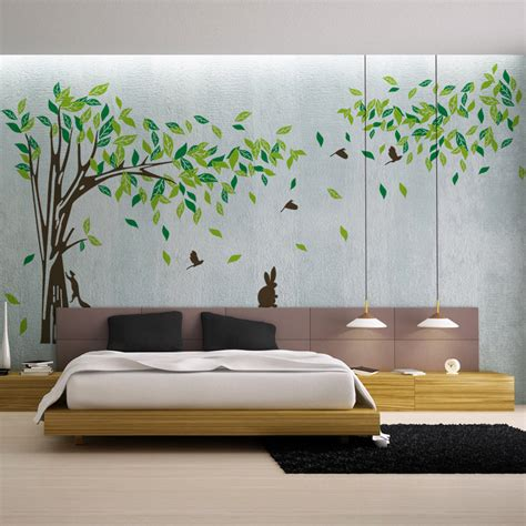 Wall decal tree removable green wall decor living room wall stickers