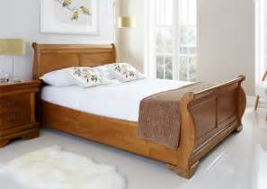 Bed Frame Sleigh Louie Wooden Sleigh Bed Oak Finish Bedroom Wooden Sleigh Bed