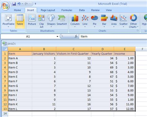 create a table table 171 table 171 microsoft office excel