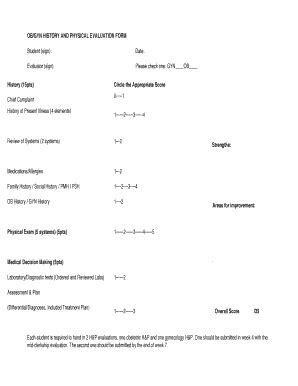 obgyn h p form fill online printable fillable blank