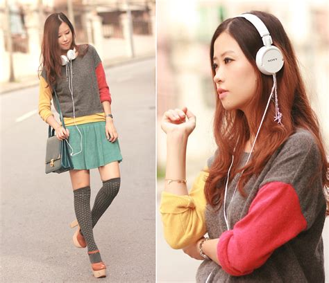 Headphone Color Block Mayo Wo Sony Headphone With Sparrow Birds Yesstyle