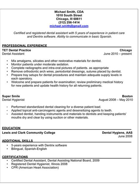 dental assistant duties for resume dental assistant resume