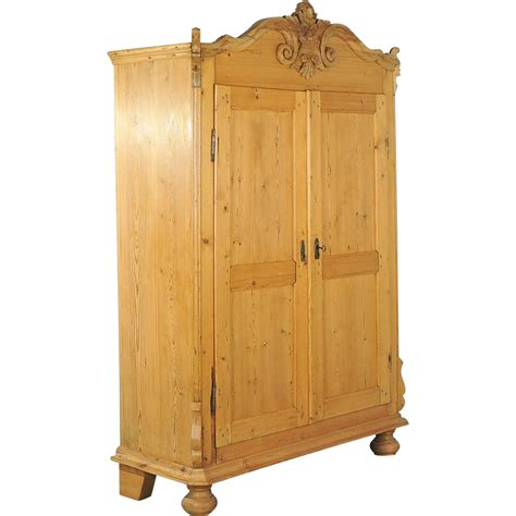 Antique Pine Armoire by Carved 19th Century Antique Pine Armoire From Lithuania