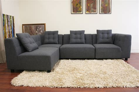 baxton studio alcoa gray fabric modular modern sectional sofa