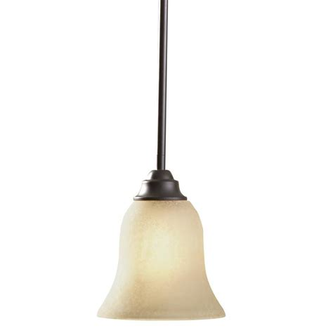 Portfolio Pendant Lighting Shop Portfolio Linkhorn 6 5 In Aged Bronze Craftsman Single Etched Glass Bell Pendant At Lowes