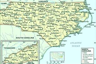 carolina map with cities and towns counties map