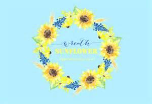 sunflower wreath watercolour clipart graphics creative