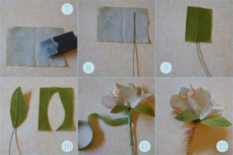 diy fabric flower boutonnieres once wed