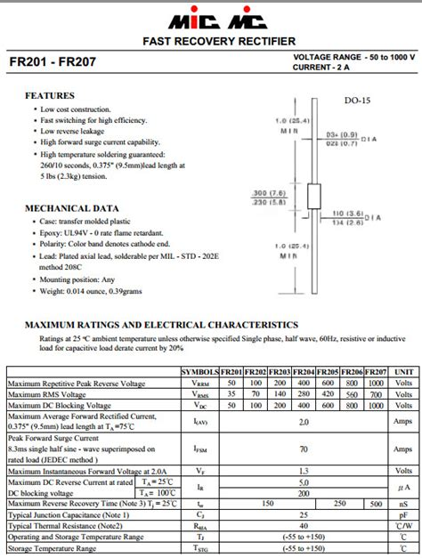 Produk Mur1660ct Fast Recovery Diode fr207 ไดโอด fast recovery rectifier 1000v 2 0a